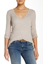 James Perse Extra Long Skinny Deep V Neck Tee Beige