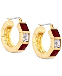 T Tahari Gold Tone Red And Clear Crystal Hoop Earrings