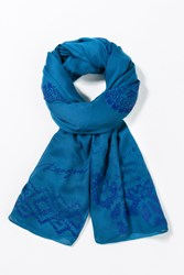 Desigual Rectangle Foulard Blue
