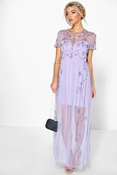 Boohoo Boutique Embellished Maxi Dress Lilac