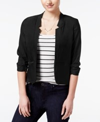 Amy Byer Bcx Juniors' Ruched Sleeve Open Front Blazer Black