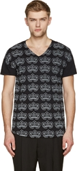 Ann Demeulemeester Black And Pale Grey Floral Print V Neck T Shirt