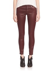Ag Jeans Leatherette Coated Ankle Pants Wine