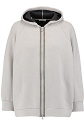 Brunello Cucinelli Wool Cashmere And Silk Blend Hooded Top Stone