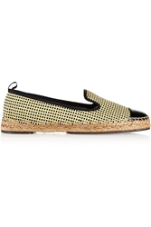 Fendi Woven Cotton And Patent Leather Espadrilles