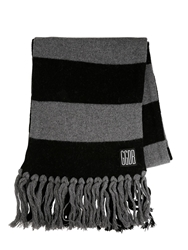 Golden Goose Fringed Wool Knit Scarf Grey Black