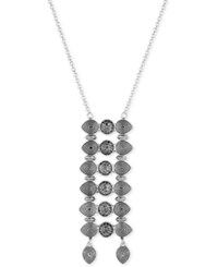 Lucky Brand Silver Tone Dark Pave Ladder Pendant Necklace