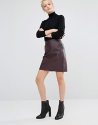 Warehouse Leather Look Skirt Burgundy Purple