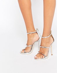 Public Desire Strappy Silver Barely There Heeled Sandals Silver