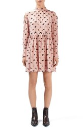 Topshop Unique Women's 'Campion' Butterfly Print Silk Babydoll Dress Light Pink