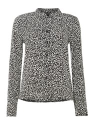 La Fee Maraboutee Beige And Black Print Blouse Grey
