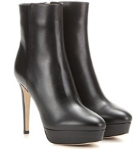 Jimmy Choo Maggie 115 Platform Leather Ankle Boots Black