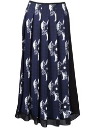 Victoria Beckham Sheer Panel Pleated Skirt Blue