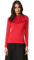 Nina Ricci Long Sleeve Knit Pullover Bright Red