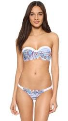 Red Carter Free Spirit Underwire Bandeau Bikini Top White Multi