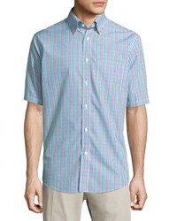 Neiman Marcus Classic Fit Non Iron Check Short Sleeve Sport Shirt Red Multi