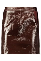 Theory Berdin Suede Trimmed Patent Leather Mini Skirt Burgundy