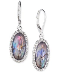 Lonna And Lilly Silver Tone Iridescent Stone Crystal Oval Drop Earrings