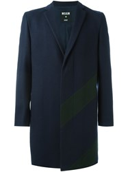 Msgm Panelled Coat Blue
