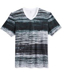 Inc International Concepts Men's Waves Graphic Print Stripe V Neck T Shirt Only At Macy's Bright White