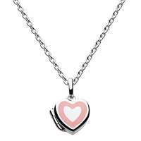 Kit Heath Girls Sterling Silver Enamel Heart Locket Pendant Necklace Silver Pink