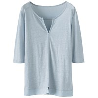 Poetry Silk Trim Top Pale Chambray