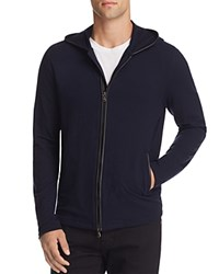 John Varvatos Star Usa Leather Trim Zip Front Hoodie Sweatshirt Marine