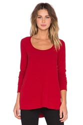 Saint Grace Brit Side Button Long Sleeve Tee Red