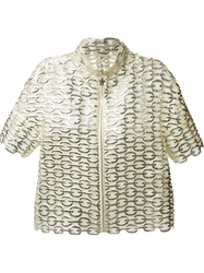 Moncler Gamme Rouge Cropped Chain Effect Jacket Metallic