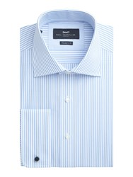 Paul Costelloe Men's Modern Fit Blue Bengal Stripe Shirt Blue