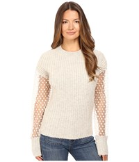 See By Chloe Knit Pullover With Sheer Sleeves Aspen Light Grey