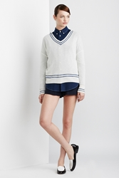 Band Of Outsiders Cashmere Ribbed Hoodie White