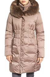 Tahari Women's 'Audrey' Quilted Coat With Faux Fur Trim Pearl Beige