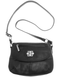 Giani Bernini Handbag Nappa Leather Saddle Flap Bag Black