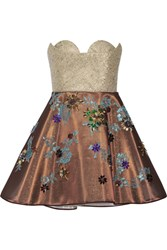 Delpozo Embellished Tulle And Metallic Tweed Mini Dress Gold