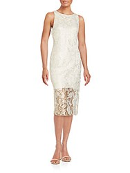 Alexia Admor Shimmer Sleeveless Lace Dress White Gold