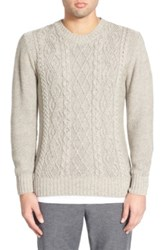 Inis Meain 'Oatmealaran' Cable Knit Crewneck Sweater Beige