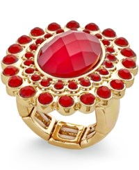 Styleandco. Style And Co. Gold Tone And Red Oval Stone Pave Ring Only At Macy's