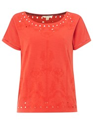 White Stuff Ora Joyce Embroidered Jersey T Shirt Indian Orange