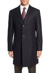 Men's Big And Tall Nordstrom 'Sydney' Wool Twill Topcoat Black