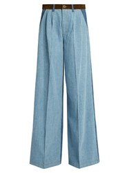 Sonia Rykiel High Waisted Wide Leg Patchwork Jeans Blue Multi