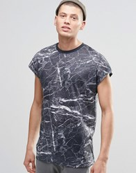 Asos Oversized Sleeveless T Shirt With Marble Print On Linen Look Fabric Gray