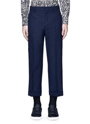 Marni Wide Leg Rolled Cuff Wool Pants Blue