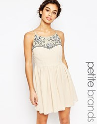 Maya Petite Babydoll Skater Dress With Embellished Top Nude Cream