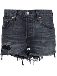 Levi's Frayed Denim Shorts Black