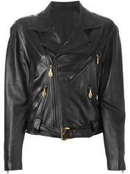 Versace Vintage Lattice Detail Biker Jacket Black