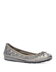Me Too Lyla Quilted Leather Ballet Flats Pewter