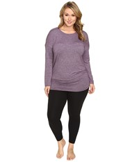 Lucy Extended Manifest Long Sleeve Tunic Blackberry Micro Stripe Women's Long Sleeve Pullover Purple