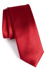 The Tie Bar Men's Solid Silk Skinny Red