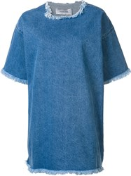 Marques Almeida Marques'almeida Raw Edge Oversized Dress Blue
